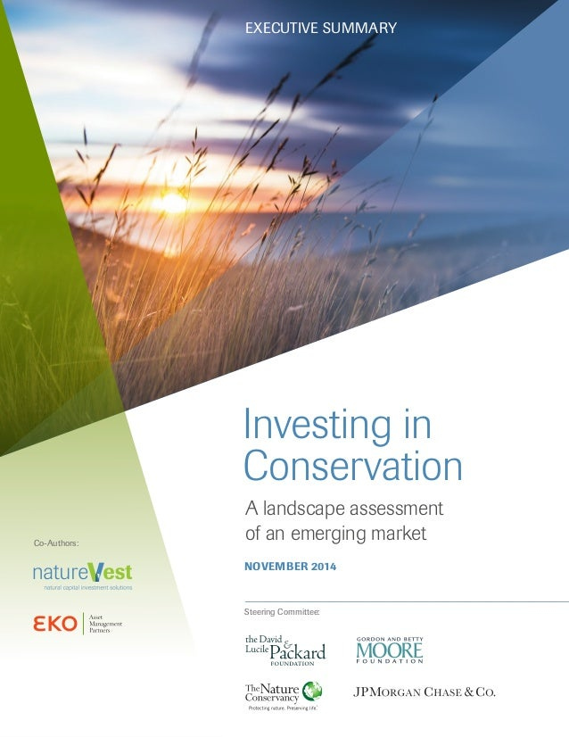 Investing in Conservation A landscape assessment of an emerging market NOVEMBER 2014 Steering Committee: Co-Authors: EXECU...