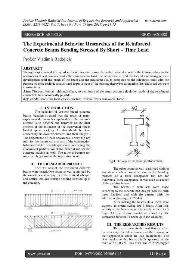 Prof.dr Vladimir Radojčić Int. Journal of Engineering Research and Application www.ijera.com ISSN : 2248-9622, Vol. 7, Iss...