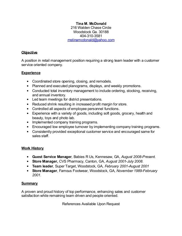 tina mcdonald resume