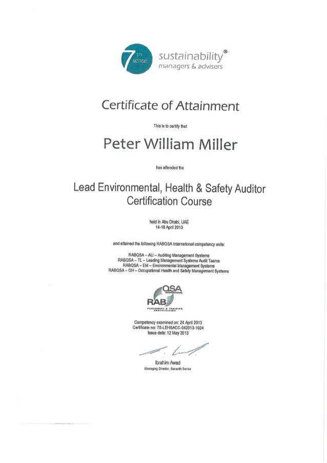 Lead Environment Health Safety Auditor Certificate