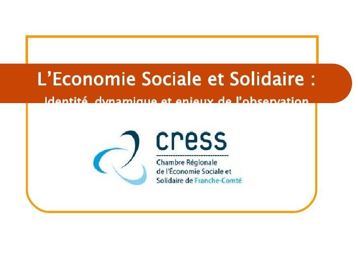 L'Economie Sociale et Solidaire : Identité, dynamique et enjeux de l'observation