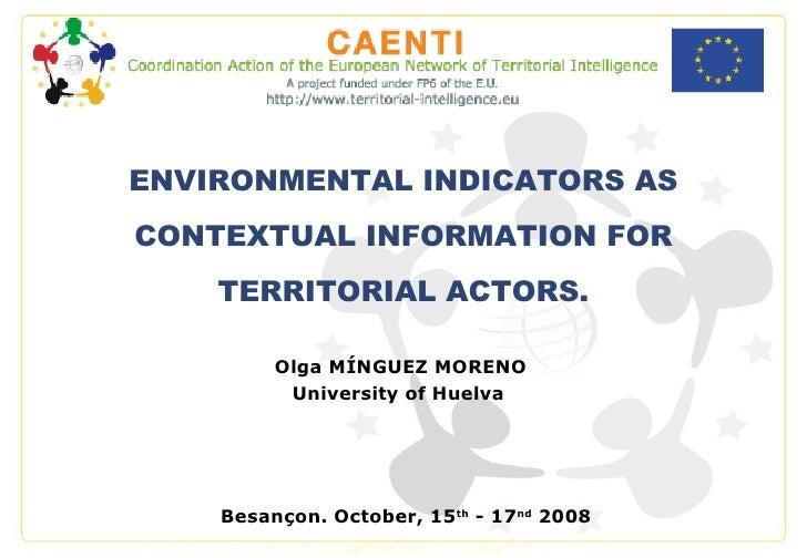 Olga MÍNGUEZ MORENO University of Huelva   Besançon. October, 15 th  - 17 nd  2008 ENVIRONMENTAL INDICATORS AS CONTEXTUAL ...