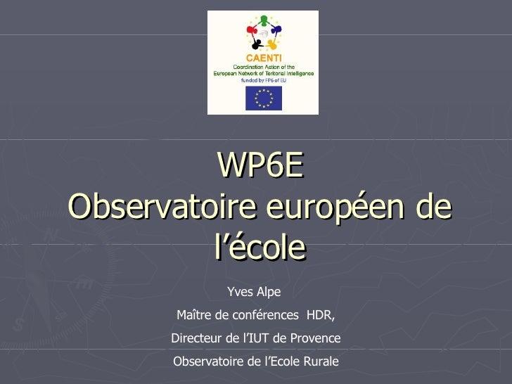 WP6E Observatoire européen de l'école Yves Alpe  Maître de conférences  HDR, Directeur de l'IUT de Provence Observatoire d...