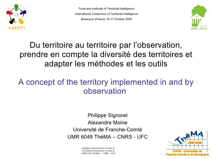 Du territoire au territoire par l'observation, prendre en compte la diversité des territoires et adapter les méthodes et l...