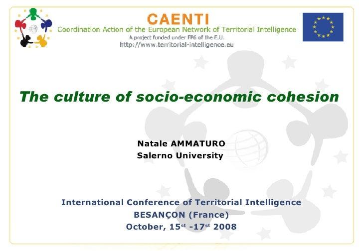 The culture of socio-economic cohesion Natale AMMATURO Salerno University   International Conference of Territorial Intell...