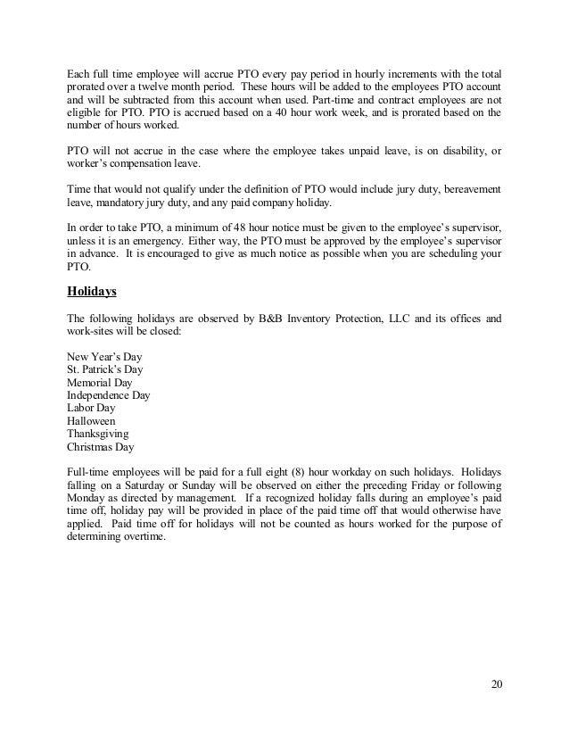 Company Policy Manual - B&B Inventory