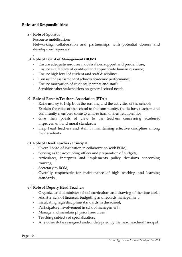 Strategic Plan Lions High School Kisumu 2015-2019