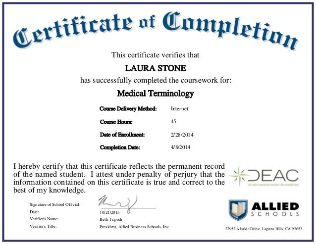 allidied medical terminology certificate286505