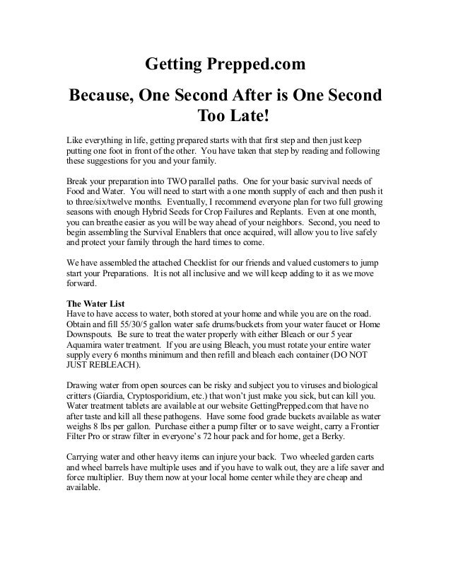 Getting Prepped.com Because, One Second After is One Second Too Late! Like everything in life, getting prepared starts wit...
