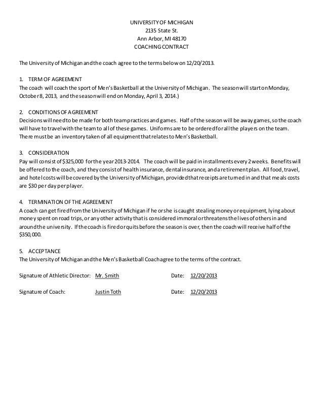 UNIVERSITY OF MICHIGAN 2135 State St. Ann Arbor, MI 48170 COACHING CONTRACT  The Universityof