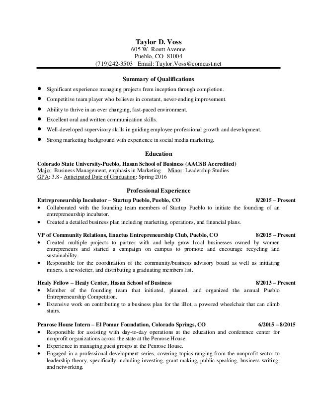 Taylor Voss Resume 2016