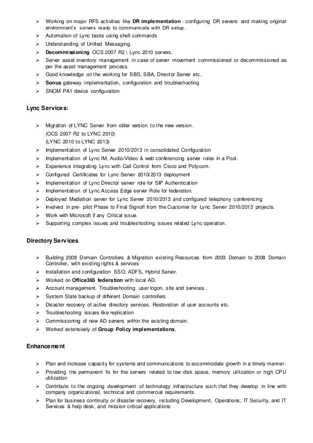 Kuldeep Lync administrator Resume