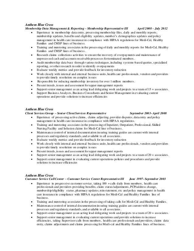 Anthem Customer Care Representative Resume
