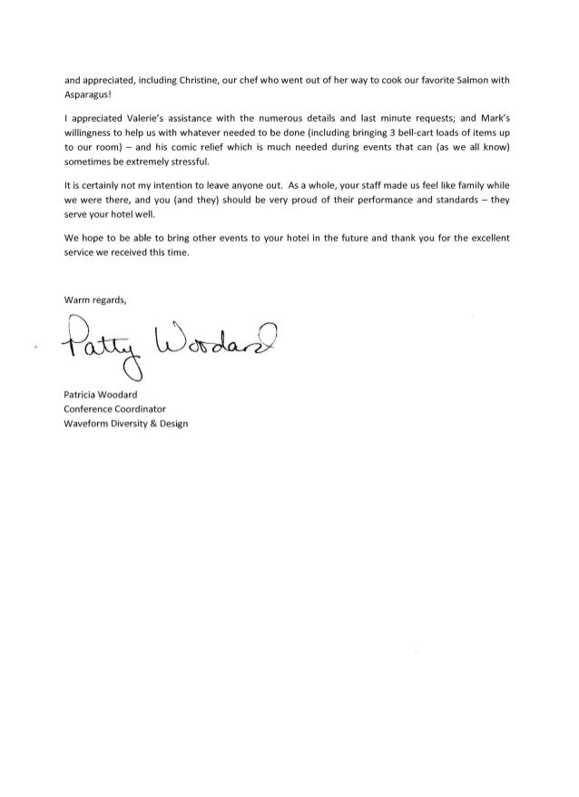 Client Thank You Letter Radisson Worldgate ResortWdd Letter