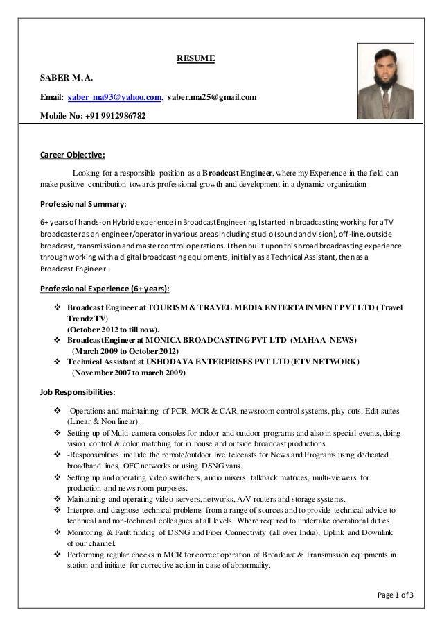 page 1 of 3 resume saber m a email saber_ma93yahoocom - Broadcasting Engineer Resume