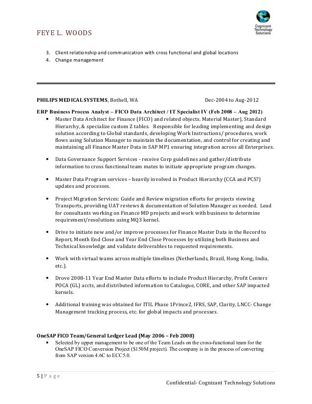 cognizant technology solutions 5 2 resume example - Sample Sap Resume