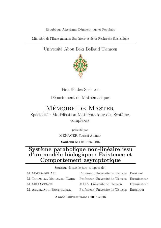 République Algérienne Démocratique et Populaire Ministère de l'Enseignement Supérieur et de la Recherche Scientifique Unive...