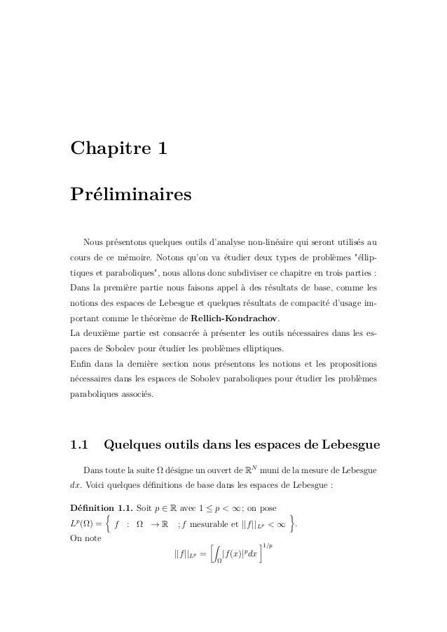 1.1. Quelques outils dans les espaces de Lebesgue 7 Le théorème suivant donne un sens à la norme || . ||Lp , pour la démon...
