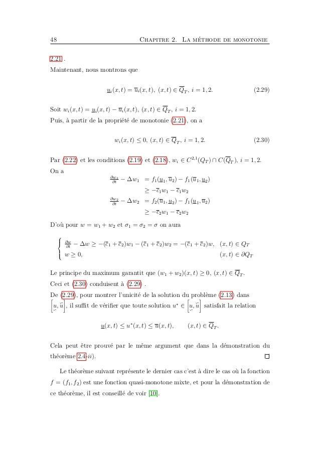 Chapitre 3 Applications 3.1 Introduction Dans ce chapitre, nous considérons un système de deux équations aux dérivées part...
