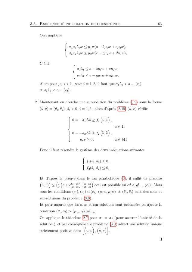 66 Chapitre 3. Applications Définir w2(x, t) = p(x, t)u2(x) = 1 + (α − 1 − 4u2(x)) e−mt u2(x), Où 4 et m sont des constante...