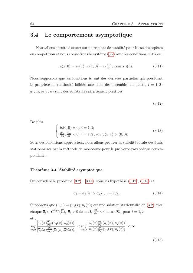 3.4. Le comportement asymptotique 67 Et on a |pu2 [−g (− 4u2 2e−mt ) − d 3(α − 1)u2 1e−mt ] + e−mt [m(α − 1 − 4u2)u2 − u2σ...