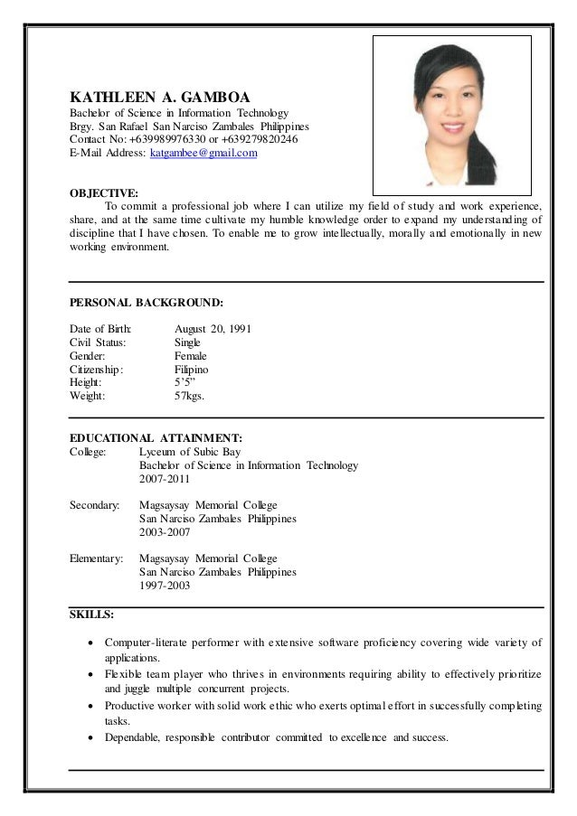 resume personal information