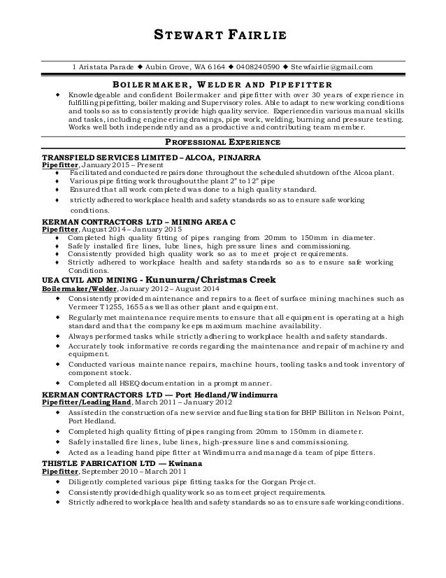 100 pipefitter resume sle unforgettable pipefitter