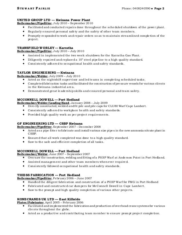 pipe fitter welder resume