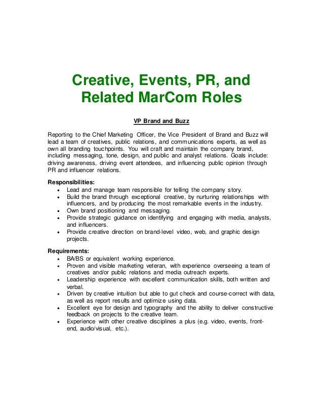 Chief Creative Officer Job Description creative melange job – Marketing Officer Job Description