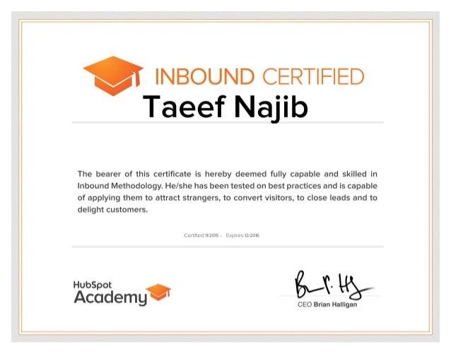 Inbound Certification by Hubspot