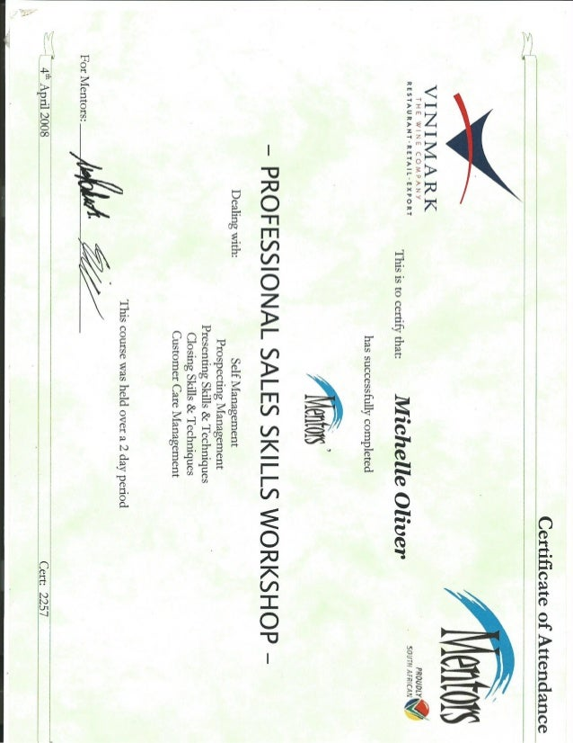 Certificate - sales