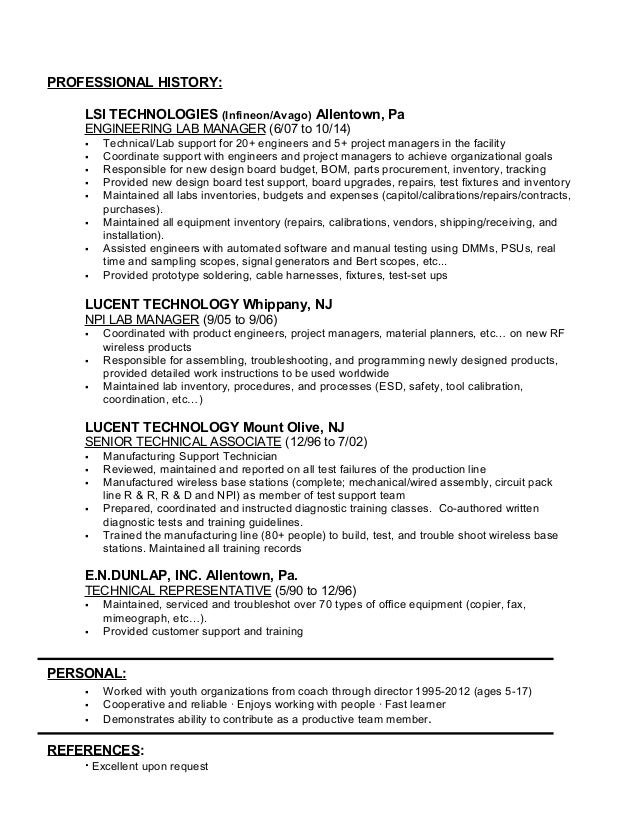 lab manager resumes