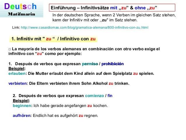 deutsch matifmarin einfhrung infinitivstze mit zu ohne zu - Infinitivsatze Beispiele