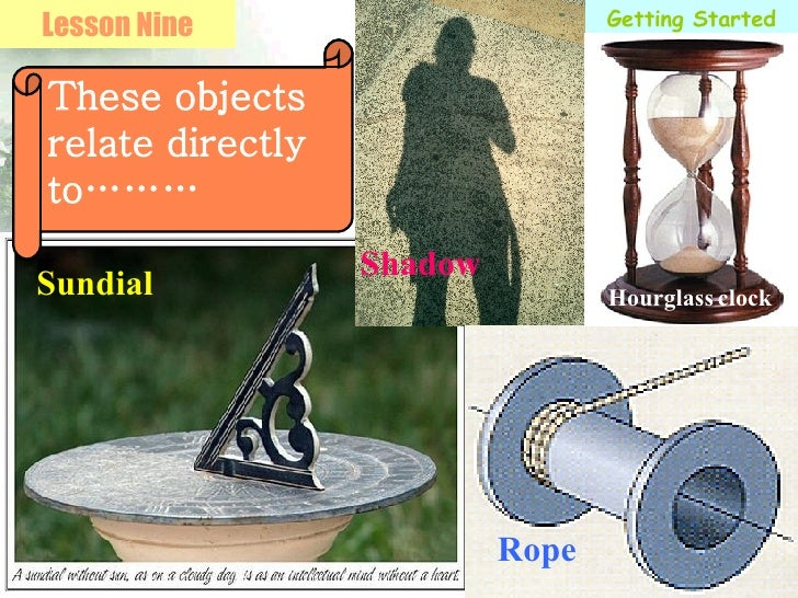 Getting Started Lesson Nine These objects relate directly to……… Sundial Shadow Rope Hourglass   clock