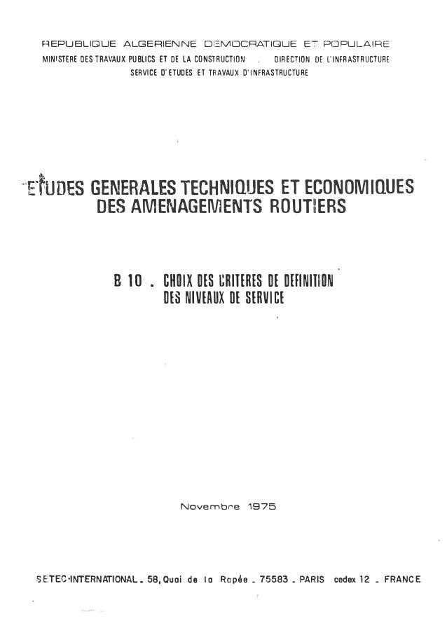REPUBLIQUE ALGERIENNE DEMOCRATIQUE ET POPULAIRE MINISTERE DES TRAVAUX PUBLICS ET DE LA CONSTRUCTION . DIRECTION DE L'INFRA...