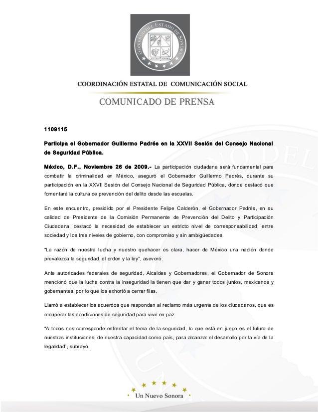 1109115 Participa el Gobernador Guillermo Padrés en la XXVII Sesión del Consejo Nacional de Seguridad Pública. México, D.F...