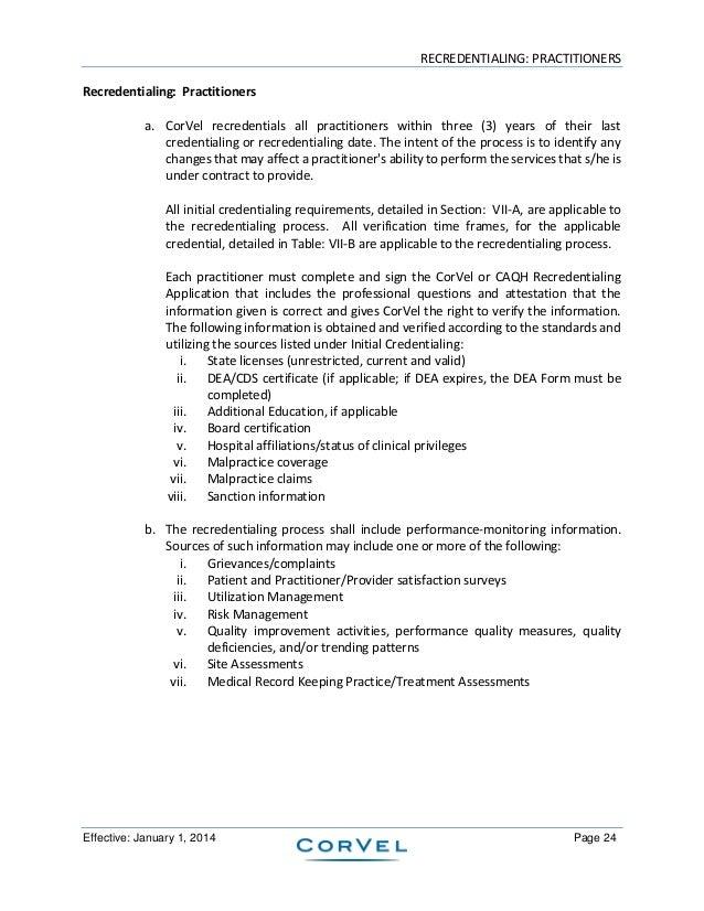 Corvel Corporation Credentialing Program