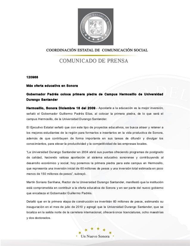 18 12 2009 guillermo padr s coloc la primera piedra del for Universidades en hermosillo