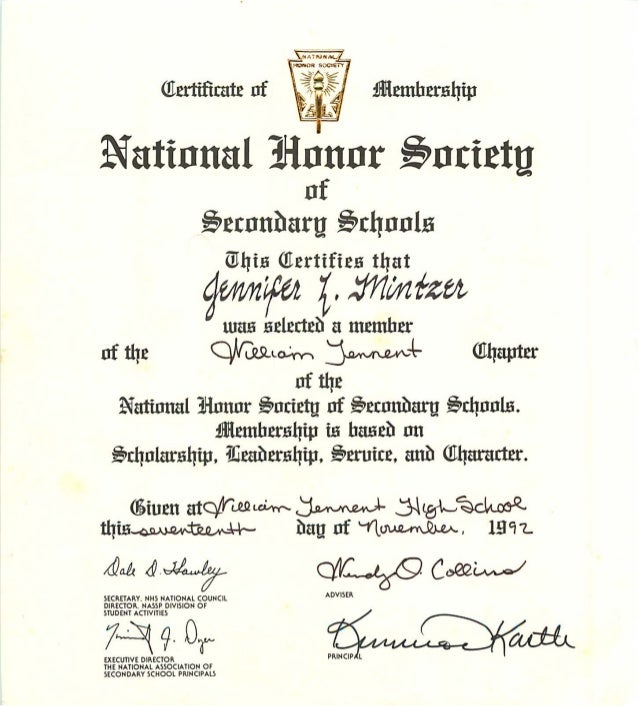 Mintzer national honor society certificate jennifer mintzer national honor society certificate yadclub Gallery