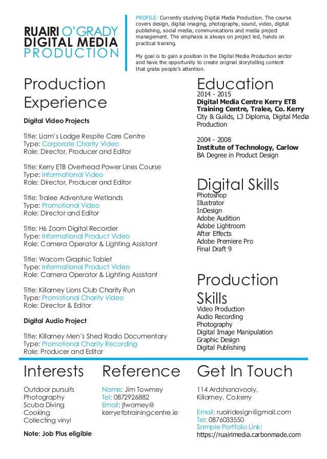 ruairi o u0026 39 grady digital media cv