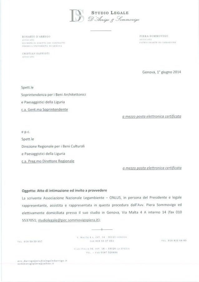 B13 intimazione a soprintendenza dopo decreto cd s