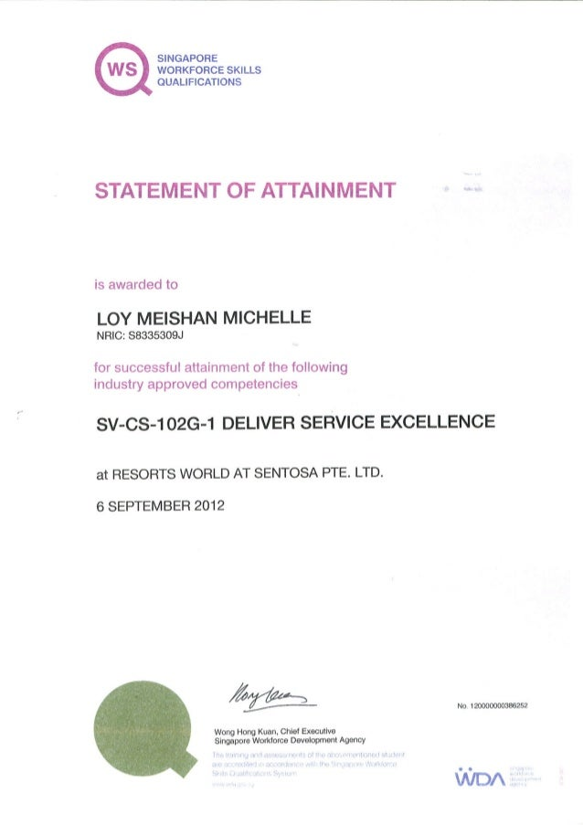 Deliver Serice Excellence Certificate