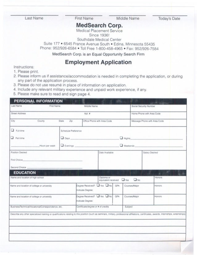 Candidate Application and Background check sheet