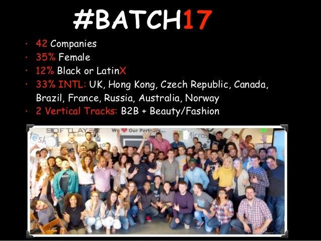 #BATCH17 • 42 Companies • 35% Female • 12% Black or LatinX • 33% INTL: UK, Hong Kong, Czech Republic, Canada, Brazil, Fran...