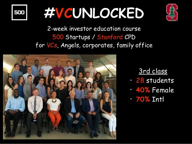 #VCUNLOCKED 2-week investor education course 500 Startups / Stanford CPD for VCs, Angels, corporates, family office 3rd cl...