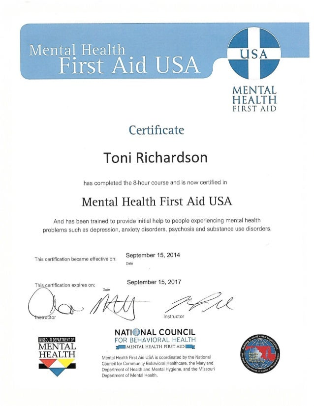 Toni Mental Health Certification