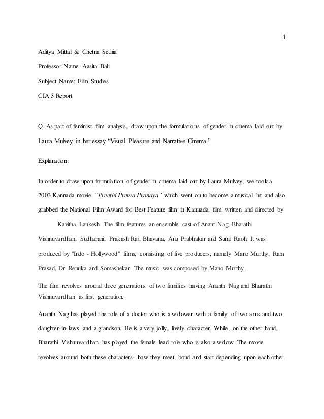 1 Aditya Mittal & Chetna Sethia Professor Name: Aasita Bali Subject Name: Film Studies CIA 3 Report Q. As part of feminist...