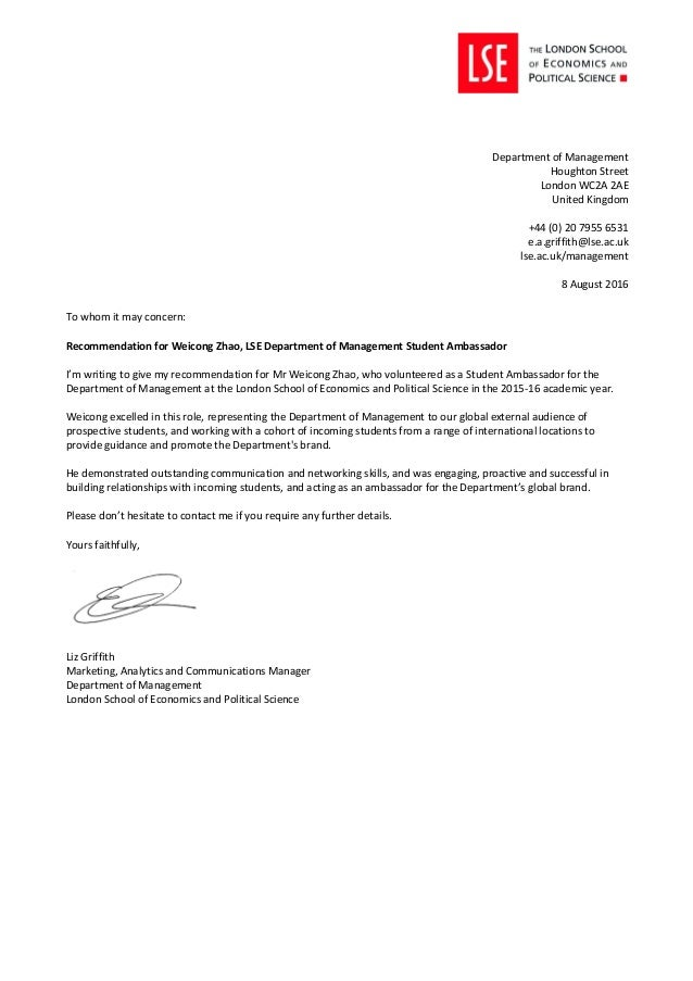 Dom student ambassador recommendation letter weicong zhao to whom it may concern recommendation for weicong zhao lse department of management student thecheapjerseys