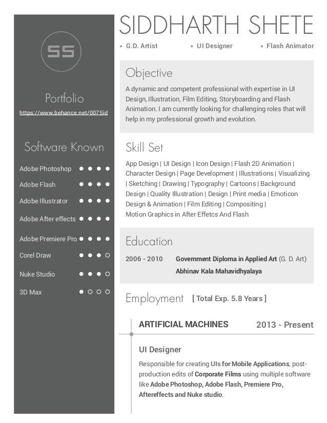 SIDDHARTH SHETE G.D. Artist 2006 - 2010 Adobe Photoshop UI Designer 2013 - Present [ Total Exp. 5.8 Years ] Objective Port...
