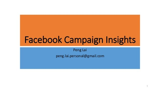 Facebook Campaign Insights Peng Lai peng.lai.personal@gmail.com 1
